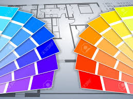 Blue Print Of A House Two Color Palettes With A Blue Print Of A House In The Background