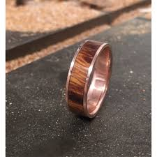 Stag Head Designs Men U0027s Wedding Band 10k Gold With Wood Inlay Ring