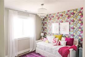 a colorful u0026 unique fairytale girls bedroom floral wallpaper with
