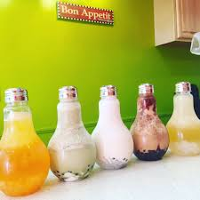 light bulb bubble tea from left to right passionfruit matcha coconut mocha and lychee