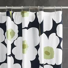 Crate Barrel Curtains Marimekko Unikko Black Shower Curtain In Shower Curtains Rings