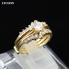 real crystal rings images 2016 newest two in one set rings plated real yellow gold crystal jpg