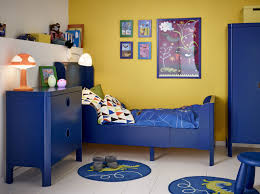 small blue kids room furniture with yellow wall paint decor crave