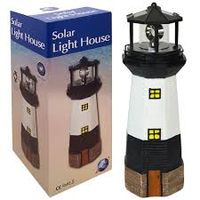 large solar powered lighthouse rotating led bulb garden ornament