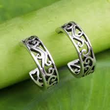 thailand earrings filigree style half hoop sterling silver earrings thai filigree