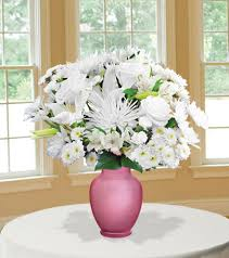 White Roses In A Vase Classic All White With Pink Vase Blooms Today