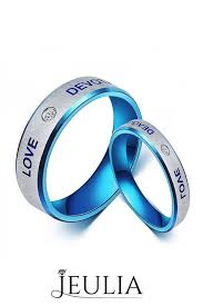 blue promise rings images Titanium steel blue promise ring for couples with words quot love jpg