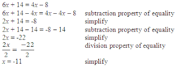 properties of equality and solving equations and inequalities in