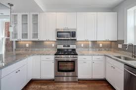 Kitchen Subway Tile Backsplash Pictures by Interior Glass Subway Tile Backsplash White Cabinets White
