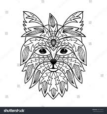 ornamental terrier illustration textile prints stock