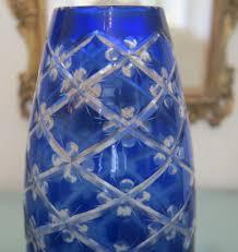 Cobalt Blue Crystal Vase Art Deco Bohemian Cobalt Blue Crystal Glass Vase Ca 1930 From