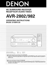 denon avr 2802 982 user manual 73 pages