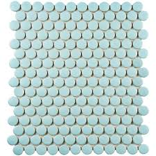penny tile youll love  wayfair with retro penny round  x  porcelain mosaic tile in matte light blue from wayfaircom