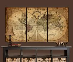 Huge World Map by Globe Tan Map World Map Canvas Vintage Map Set Large Wall
