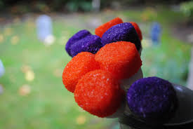 halloween treats orange and purple marshmallow pops for kids and