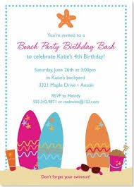 elegant beach party invitation card example featuring colorful