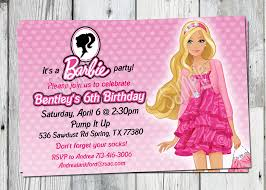 Design Invitation Card For Birthday Party Interesting Barbie Birthday Invitation Cards 39 For Seminar