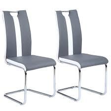 chaise de cuisine grise jade lot de 2 chaises de salle à manger simili gris et blanc