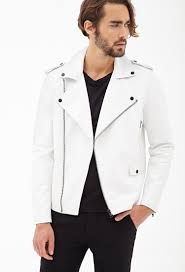 mens leather moto jacket forever 21 faux leather moto jacket in white for men lyst