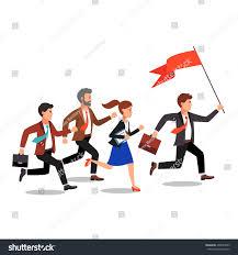 Flag People Business Leader Holding Big Flag Leading Stock Vector 405093583