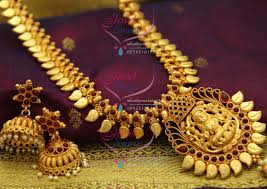 long yellow gold necklace images Nl2457 reddish yellow gold south indian traditional haram jhumka JPG