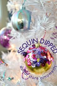 how to make sequined dipped ornaments mad in crafts