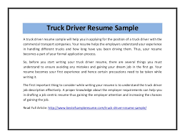 truck driver resume sample truck driver resume sample pdf