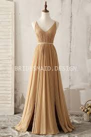 spaghetti strap camel chiffon v neck elegant vintage bridesmaid