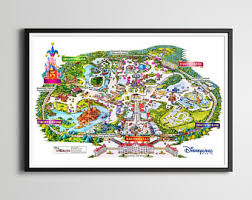 printable map disneyland paris park disney park map etsy
