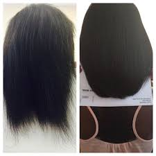 relaxed hair shooed blown dry cut and flat ironed simply