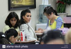 kim kardashian goes to a nail salon in beverly hills to get a