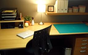 home office clean workspace drawer table lamp home office decorating