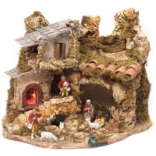 nativity village stable with fire 28x38x28cm online sales on