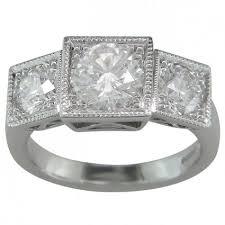 diamond three stone ring art deco vintage design