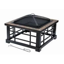 home depot fire table hton bay woodspire 30 in square slate steel fire pit ftb 51374