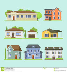 Home Design Download Image Cute Colorful Flat Style House Village Symbol Real Estate Cottage