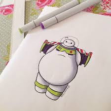 baymax reimagined cute drawings disney characters