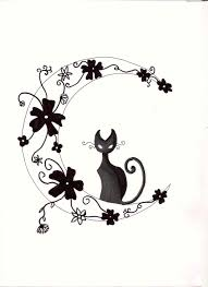 cat halloween background images halloween background head black cat and moon tattoo portrait with