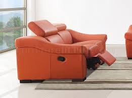 Leather Reclining Sofa Reclining Sofa In Orange Full Leather By Esf W Options