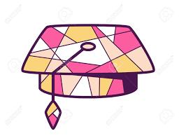 pink graduation cap vector illustration of pink and yellow graduation cap on light