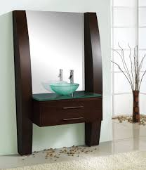 bathroom elegant wooden small vanity with double sinks bathroom contemporary small vanity design with drawers and glass vessel sink