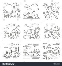 vector set nine country landscape illustrations stock vector