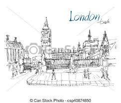 clipart vector of ink sketch drawing of famous place in london