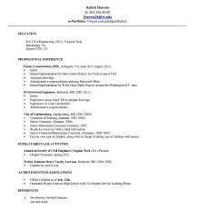 sample resume for civil engineering internship