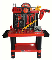 Boys Wooden Tool Bench Work Bench And Art Deco Red Blue Yellow Wooden Carpenter Toys