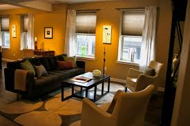 exquisite studio apartment room design with gray sofa and cute