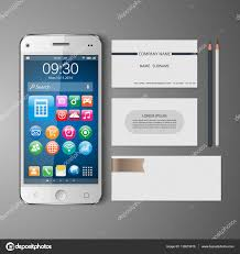 templates blank business cards smart phone pencil vector