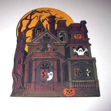 vintage die cut hallmark halloween decoration of haunted house