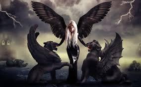 wallpapers blonde wings lightning girls fantasy 2560x1600
