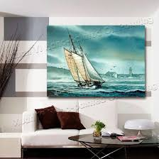 Landscape Canvas Prints by 2017 Oil Painting Modern Living Room Wall Decor Boat Landscape